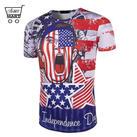 Best Men's Plus Size 4th of July Men T-shirts Online Sales - Best Slim 3D Printed 4th of July T-shirts with O-neck style will suit perfectly with your casual wears, especially with jeans. It is a perfect gift of USA Independence Day too. Broad design collection let you choose your favorite one – SartMart