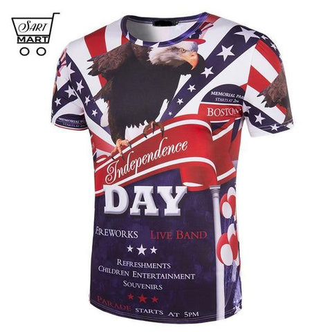 Best Men's Plus Size 4th of July T-shirts Online Sales - Best Slim 3D Printed 4th of July T-shirts with O-neck style will suit perfectly with your casual wears, especially with jeans. It is a perfect gift of USA Independence Day too. Broad design collection let you choose your favorite one – SartMart