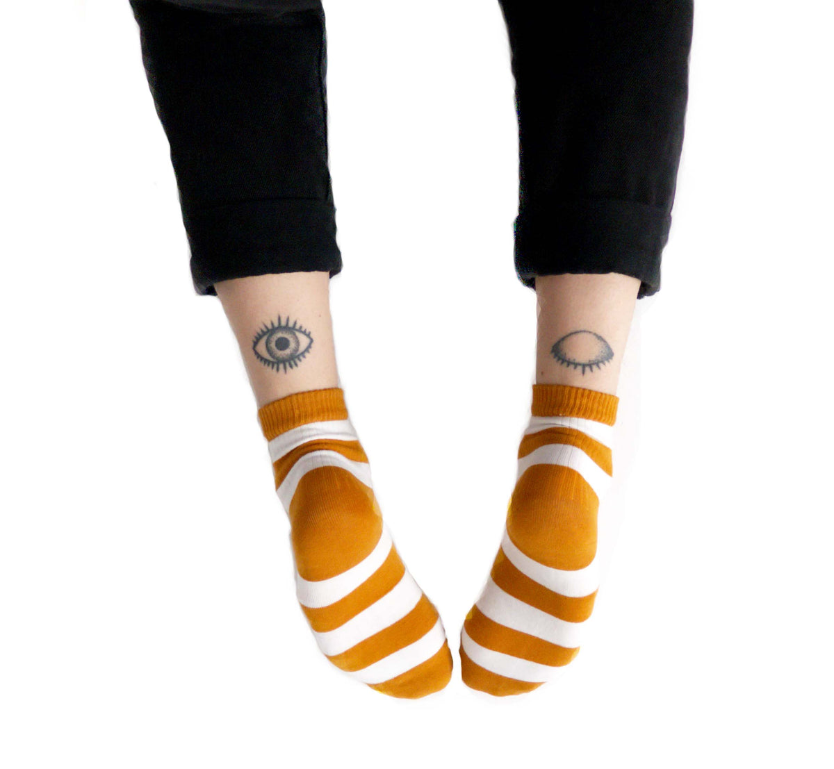 Mustard yellow, colourful striped ankle socks for women