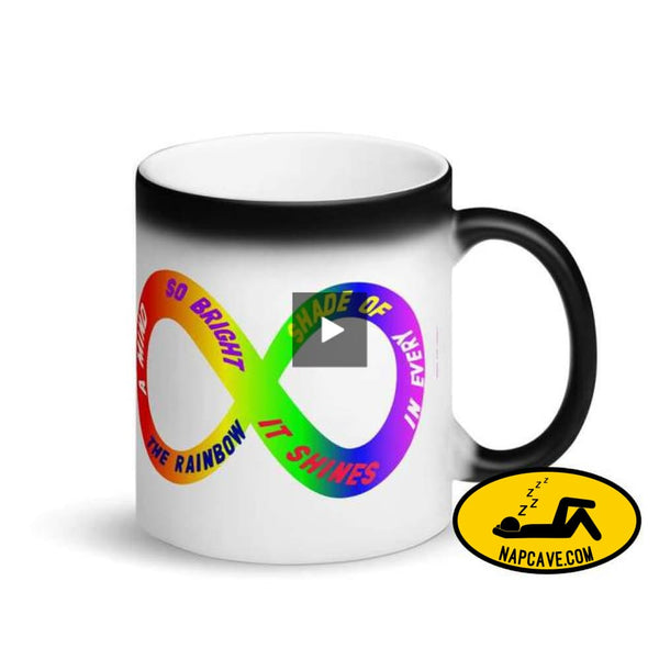 A Mind So Bright it Shines in Every Color of the Rainbow Matte Black Magic Mug Mug The NapCave A Mind So Bright it Shines in Every Color of