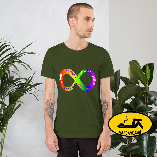 A Mind so Bright it Shines in Every Shade of the Rainbow! New Infinity Autism Spectrum symbol with Quote by Sleepy American Olive / S Shirt