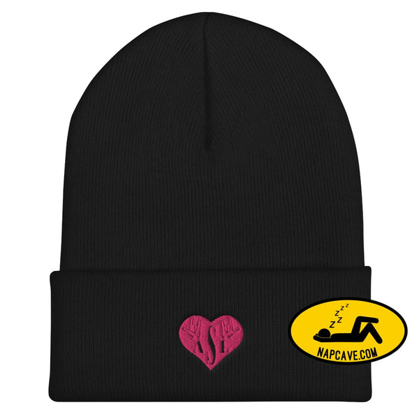 ASL (I Red Heart Love American Sign Language) Cuffed Beanie Black The NapCave ASL (I Red Heart Love American Sign Language) Cuffed Beanie