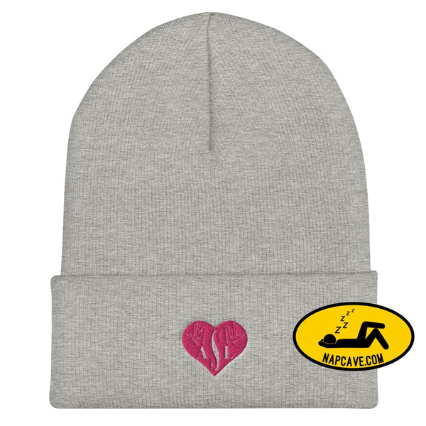 ASL (I Red Heart Love American Sign Language) Cuffed Beanie Heather Grey The NapCave ASL (I Red Heart Love American Sign Language) Cuffed