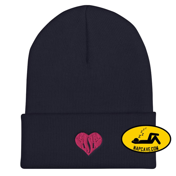 ASL (I Red Heart Love American Sign Language) Cuffed Beanie Navy The NapCave ASL (I Red Heart Love American Sign Language) Cuffed Beanie