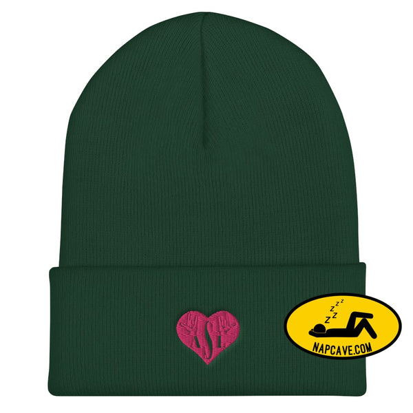 ASL (I Red Heart Love American Sign Language) Cuffed Beanie Spruce The NapCave ASL (I Red Heart Love American Sign Language) Cuffed Beanie