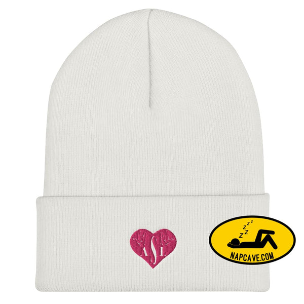 ASL (I Red Heart Love American Sign Language) Cuffed Beanie White The NapCave ASL (I Red Heart Love American Sign Language) Cuffed Beanie