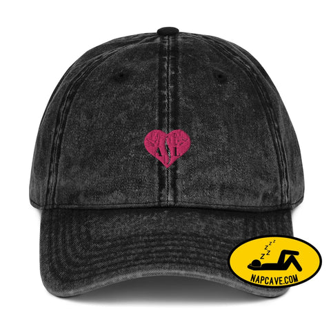 ASL (I Red Heart Love American Sign Language) Vintage Cotton Twill Cap Black The NapCave ASL (I Red Heart Love American Sign Language)