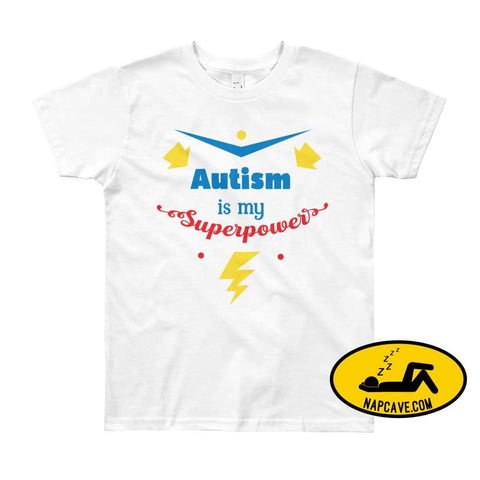 Autism is my SuperPower White / 8yrs shirt Nap Cave Autism is my SuperPower autism chronic illness chronic pain disability dont give up