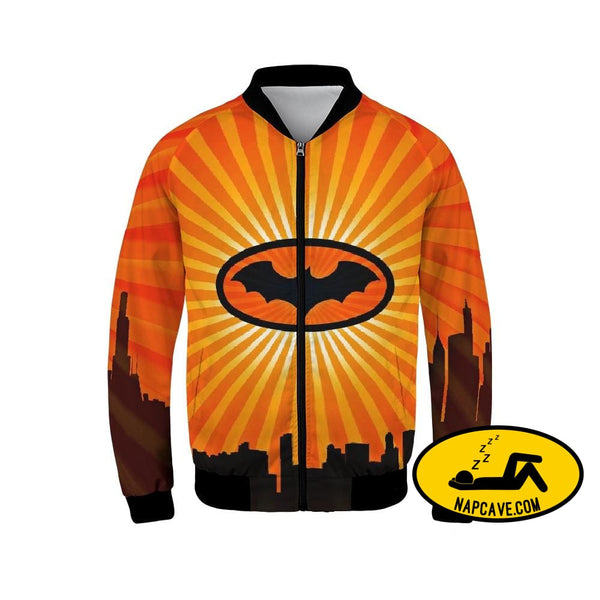 bat Mens Bomber Jacket Jacket The NapCave bat Mens Bomber Jacket bat signal Batman Batman has Narcolepsy mens skyline