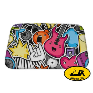 Bath Mat Music Party Kawaii Pattern Musical Instruments Symbols And Objects In Cartoon Bath Mat Gear New Bath Mat Music Party Kawaii Pattern