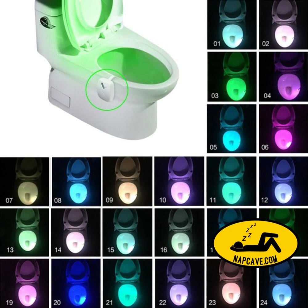 Bathroom Toilet Nightlight LED Body Motion Activated On/Off Seat Sensor Lamp 8/24Colors PIR Toilet Night Light lamp The NapCave Bathroom