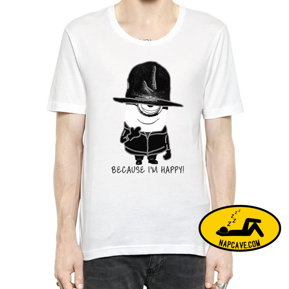 Because Im Happy Despicable Me Minions T-Shirt For Men L / White Shirt aliex Because Im Happy Despicable Me Minions T-Shirt For Men