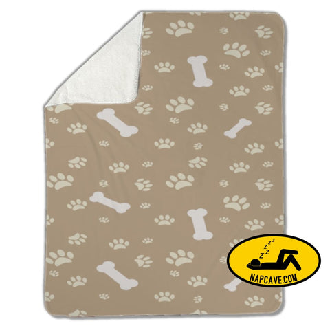 Blanket Dog paw print and bone Blankets US Drop Ship Blanket Dog paw print and bone blanket cover fleece sherpa