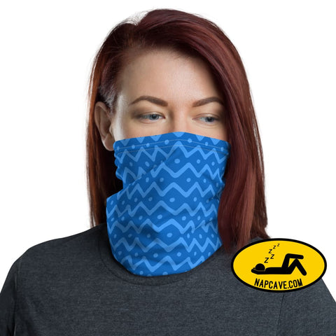 Blue Doodles and zigzag Polka dots Neck Gaiter The NapCave Blue Doodles and zigzag Polka dots Neck Gaiter coronavirus,covid-19,Face