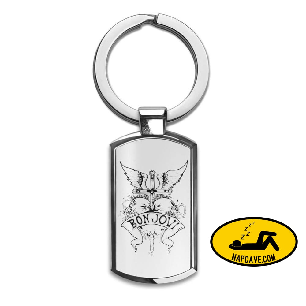 Bon Jovi Heart Design Premium Stainless Steel Key Ring| Enjoy A Unique & Personalized Key Hanger To Carry Your Keys W/ Style| Custom Quality