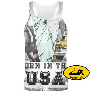 Born In The Usa Sublimation Tank Top T-Shirt For Men - 100% Soft Polyester - All-Over Printing - Custom Printed Mens Clothing Aliex Born In
