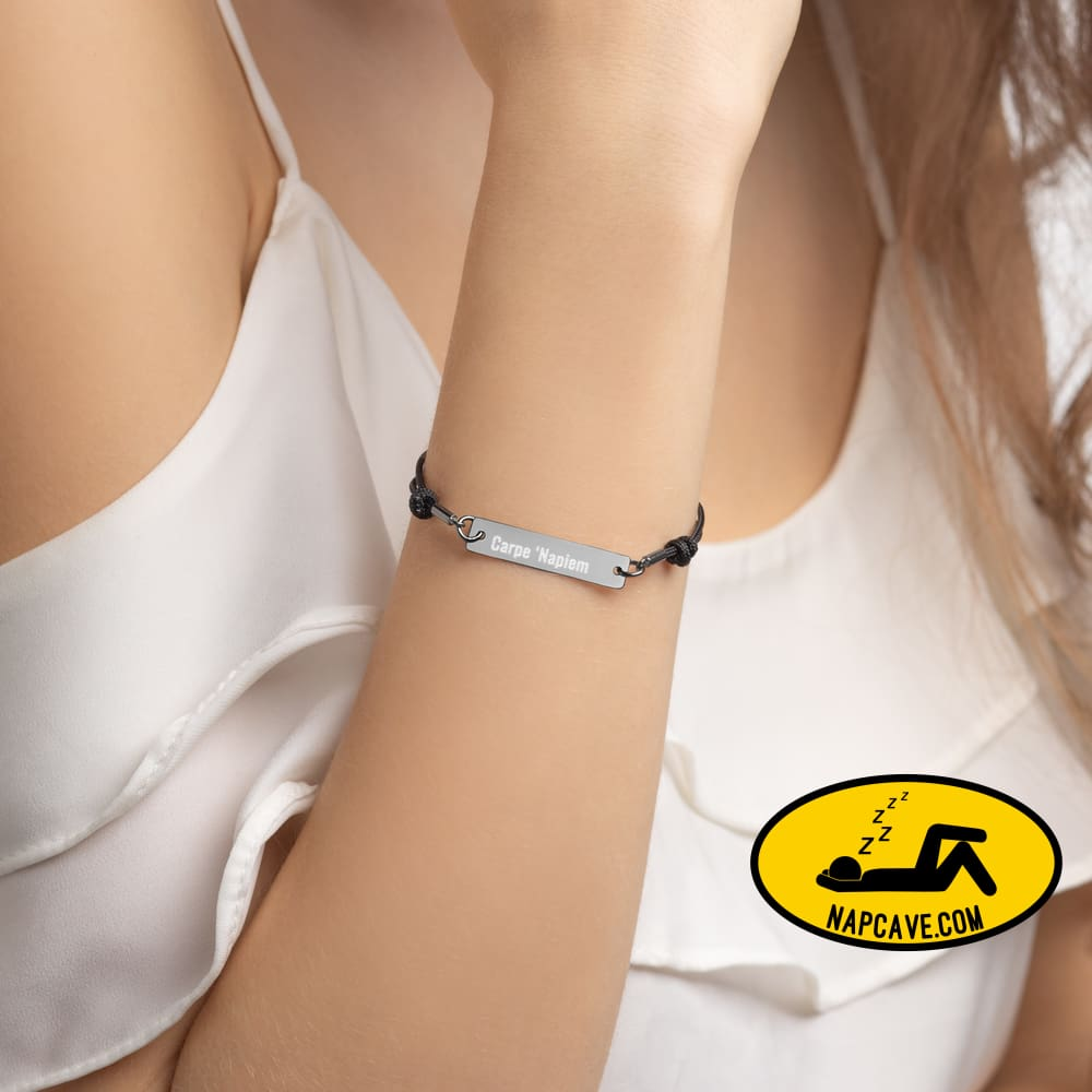 Carpe Napiem Engraved Silver Bar String Bracelet Black Rhodium Jewelry The NapCave Carpe Napiem Engraved Silver Bar String Bracelet 24 ct