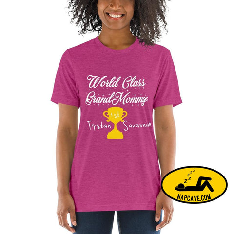 Customizable World class Grandma Short sleeve t-shirt Berry Triblend / XS Shirt The NapCave Customizable World class Grandma Short sleeve
