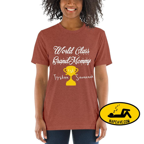 Customizable World class Grandma Short sleeve t-shirt Clay Triblend / XS Shirt The NapCave Customizable World class Grandma Short sleeve