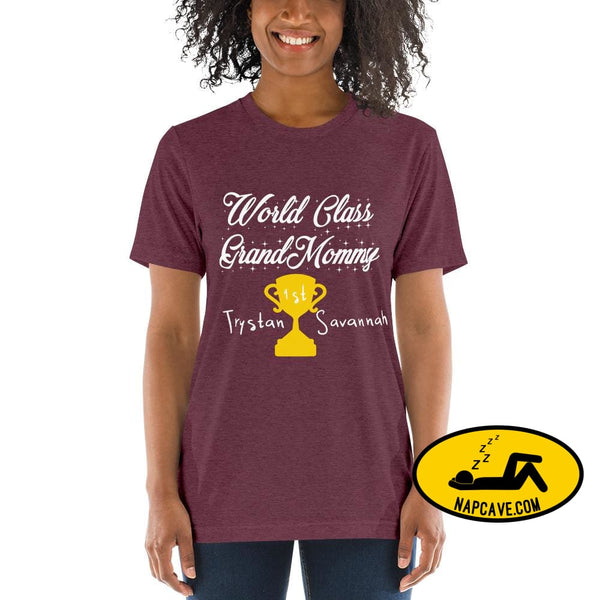 Customizable World class Grandma Short sleeve t-shirt Maroon Triblend / XS Shirt The NapCave Customizable World class Grandma Short sleeve