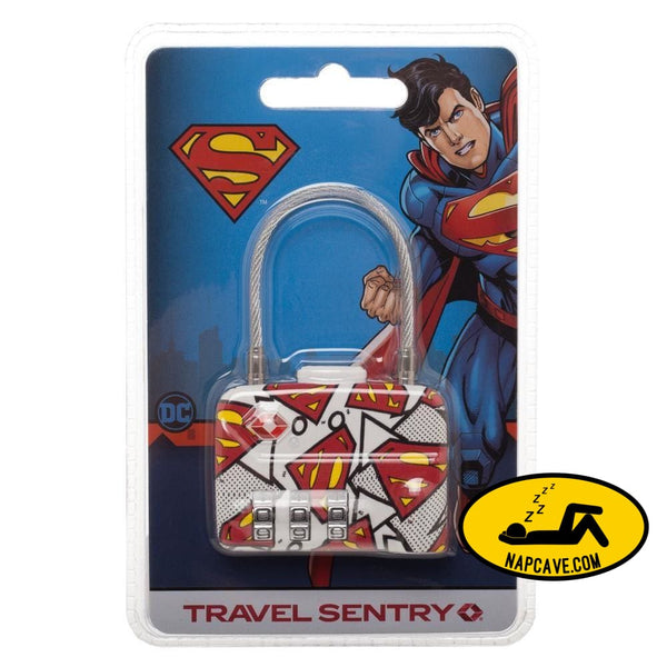 DC Comics Superman Logo TSA Approved Travel Combination Cable Luggage Lock for Suitcase Baggage DC Comics DC Comics Superman Logo TSA