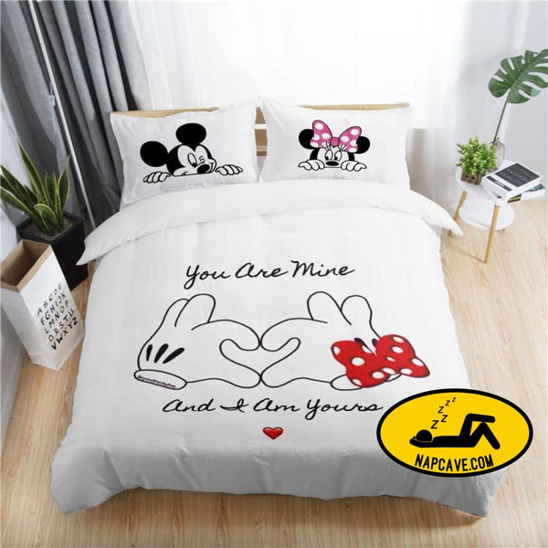 Disney mickey minnie valentine romantic duvet cover set king queen double full twin single size bed linen set The NapCave Disney mickey