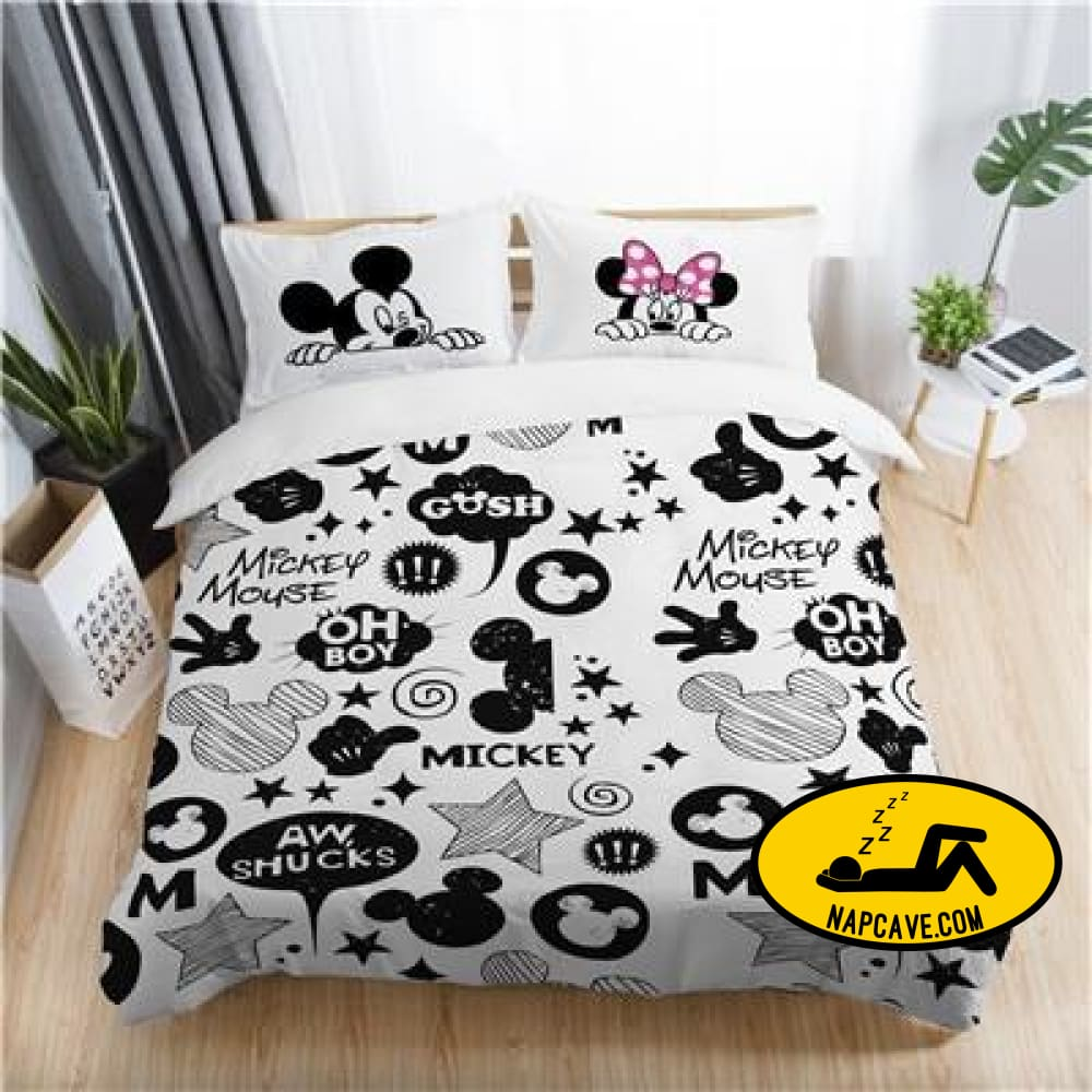 Disney mickey minnie valentine romantic duvet cover set king queen double full twin single size bed linen set KYMQ1 / US TWIN The NapCave