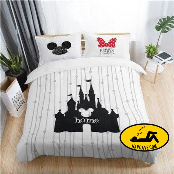 Disney mickey minnie valentine romantic duvet cover set king queen double full twin single size bed linen set KYMQ6 / AU DOUBLE The NapCave