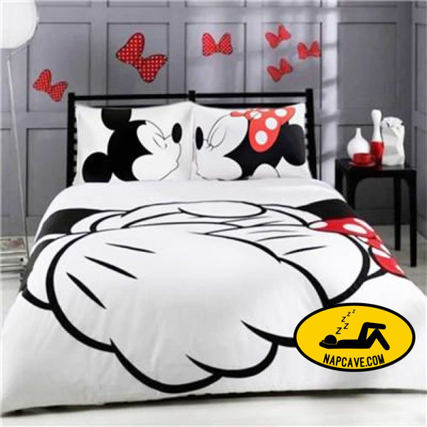 Disney mickey minnie valentine romantic duvet cover set king queen double full twin single size bed linen set PXmk02 / US TWIN The NapCave