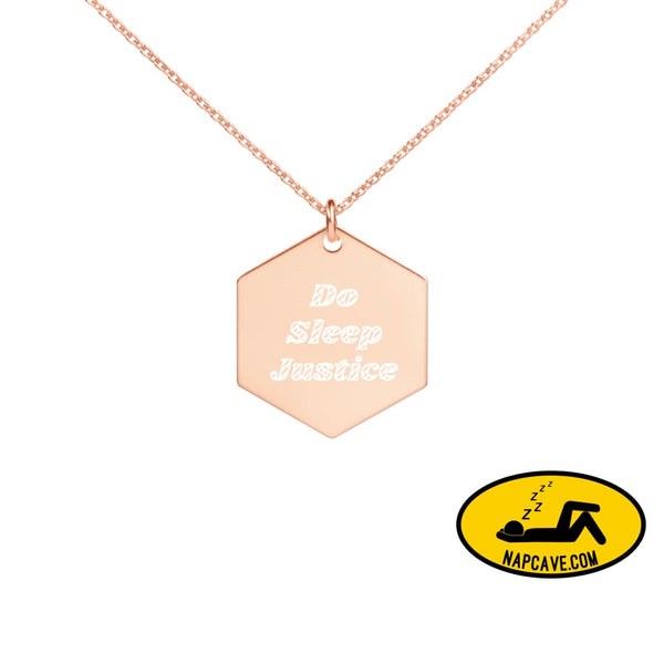 Do Sleep Justice with the NapCave Engraved Silver Rose Gold or 18K Gold Hexagon Necklace 18K Rose Gold coating jewelry The NapCave Do Sleep