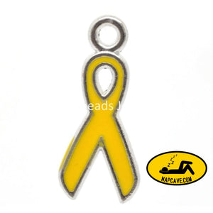DoreenBeads Charm Pendants Ribbon Awareness Silver Tone Enamel Yellow 20x9mm 20PCs (B22806) yiwu The NapCave DoreenBeads Charm Pendants