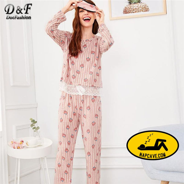 Dotfashion Pink Strawberry Print Lace Trim Pajama Set With Eye Mask Pajamas For Women 2019 Fall Sleepwear Long Sleeve Nightwear The NapCave