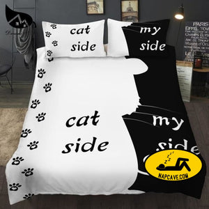 Dream NS Simple Black + White Bedding Set Cat/Dog/He and her Couple Bedclothes Pillowcase Customized Home Textiles Bed Set Cat / EUR Single