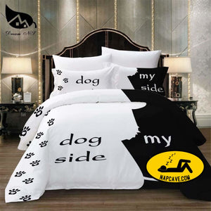 Dream NS Simple Black + White Bedding Set Cat/Dog/He and her Couple Bedclothes Pillowcase Customized Home Textiles Bed Set BEDDING The