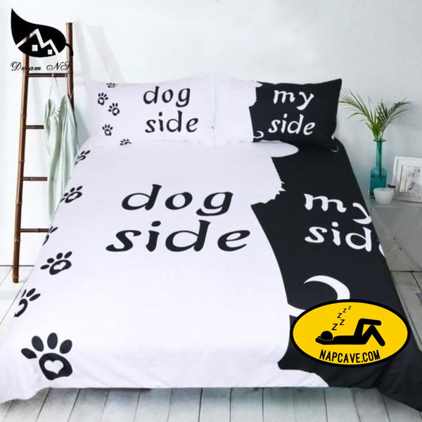 Dream NS Simple Black + White Bedding Set Cat/Dog/He and her Couple Bedclothes Pillowcase Customized Home Textiles Bed Set Dog / EUR Single