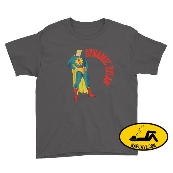 Dynamic Dreamer Personalized Superhero Youth Short Sleeve T-Shirt Charcoal / XS Nap Cave Dynamic Dreamer Personalized Superhero Youth Short