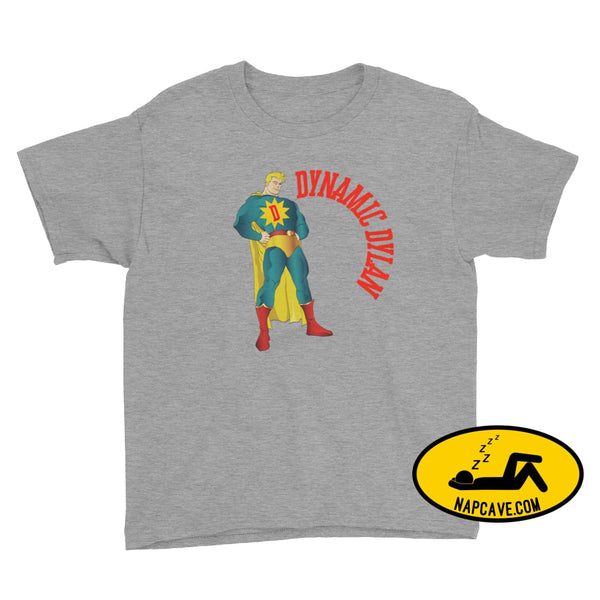 Dynamic Dreamer Personalized Superhero Youth Short Sleeve T-Shirt Heather Grey / XS Nap Cave Dynamic Dreamer Personalized Superhero Youth