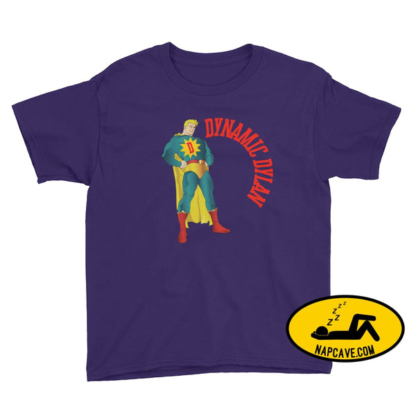 Dynamic Dreamer Personalized Superhero Youth Short Sleeve T-Shirt Purple / XS Nap Cave Dynamic Dreamer Personalized Superhero Youth Short