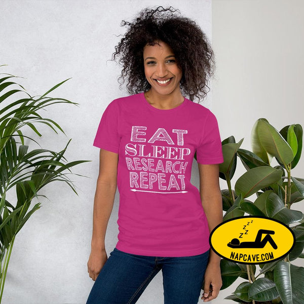 Eat Sleep Research Repeat Short-Sleeve Unisex T-Shirt Berry / S The NapCave Eat Sleep Research Repeat Short-Sleeve Unisex T-Shirt #sleep2019