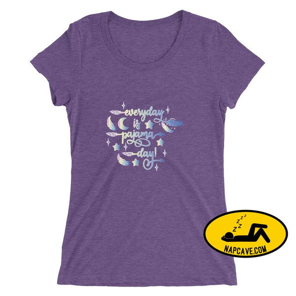 Everyday is Pajama Day Ladies short sleeve t-shirt Purple Triblend / S The NapCave Everyday is Pajama Day Ladies short sleeve t-shirt bed