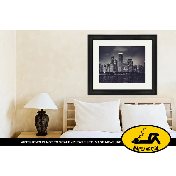 Framed Print Chicago Night Time Skyline Photo With Michigan Lake Reflection Chicago Illinois Framed Print Ashley Art Studio Framed Print