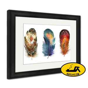 Framed Print Hand Drawn Watercolor Feather Set Boho Style Illustration Iso Framed Print Ashley Art Studio Framed Print Hand Drawn Watercolor