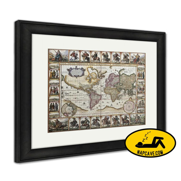 Framed Print World Old Map Created By Nicholas Visscher Published In Amsterdam 1652 Framed Print Ashley Art Studio Framed Print World Old