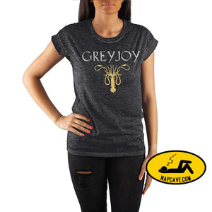 Game of Thrones House Greyjoy Golden Kraken Crew Neck Rolled Sleeve T Shirt The NapCave Game of Thrones House Greyjoy Golden Kraken Crew