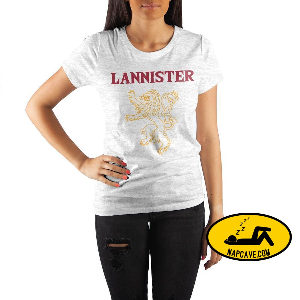 Game of Thrones House Lannister Golden Lion Crew Neck Rolled Sleeve T Shirt The NapCave Game of Thrones House Lannister Golden Lion Crew