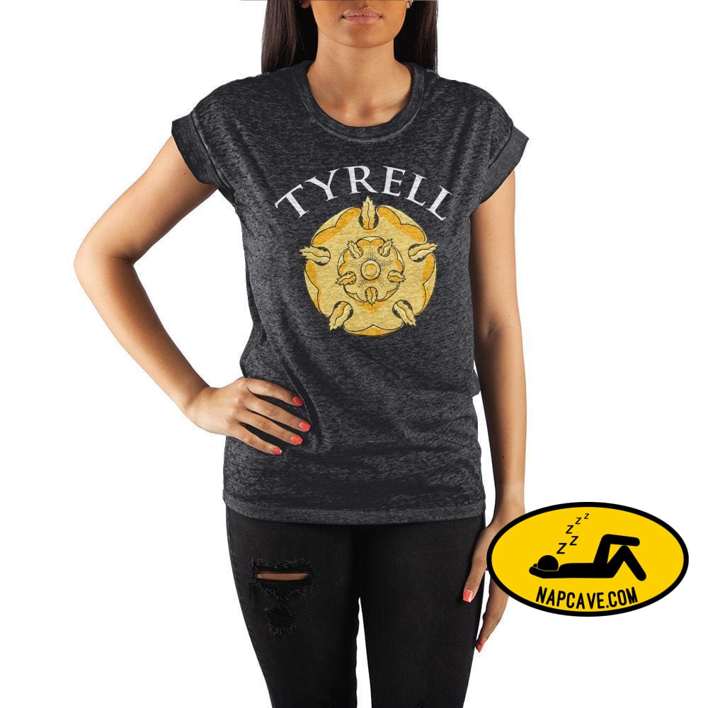 Game of Thrones House Tyrell Golden Rose Crew Neck Rolled Sleeve T Shirt The NapCave Game of Thrones House Tyrell Golden Rose Crew Neck