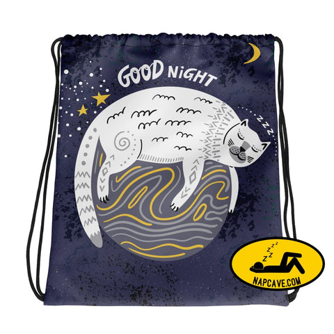 Goodnight Cat Nap in Space Sleeping Drawstring bag Tote Bag The NapCave Goodnight Cat Nap in Space Sleeping Drawstring bag cat Cat Nap cure