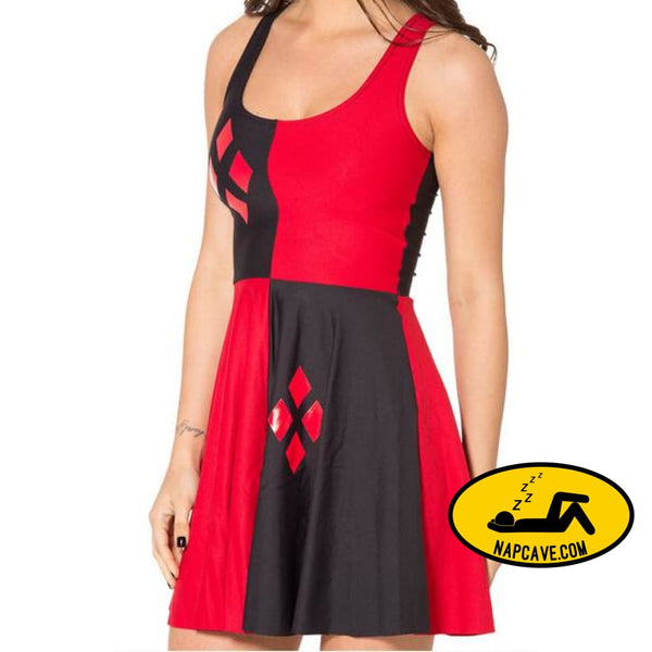 HARLEY QUINN Skater Dress Plus Size bl518 / One Size Dress The NapCave HARLEY QUINN Skater Dress Plus Size clothing DC Comics dress Dress