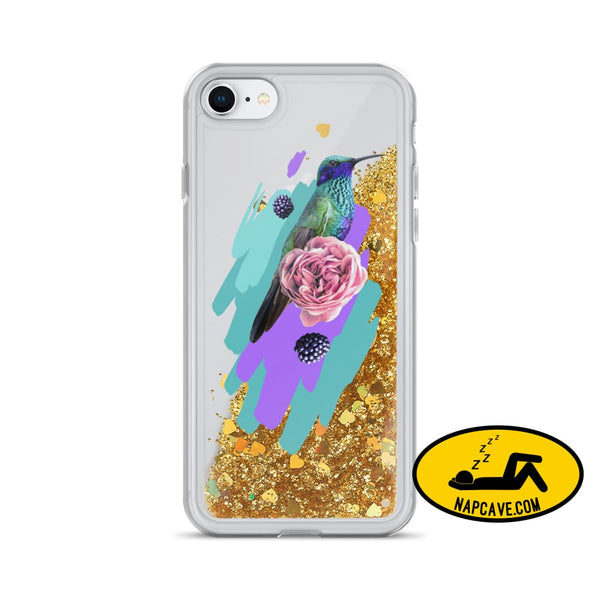 Hummingbird Dream in Teal Rose Liquid Glitter iPhone Case Gold / iPhone 7/8 Mobile Accessories The NapCave Hummingbird Dream in Teal Rose