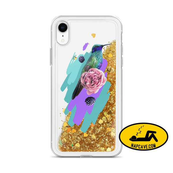 Hummingbird Dream in Teal Rose Liquid Glitter iPhone Case Gold / iPhone XR Mobile Accessories The NapCave Hummingbird Dream in Teal Rose